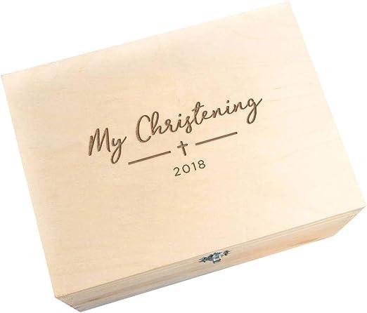 Caja de recuerdos del bautizo, de madera, con grabado «My ...