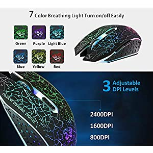 TENMOS M2 Wireless Gaming Mouse, Silent Rechargeable Optical USB Computer Mice Wireless with 7 Color LED Light, Ergonomic Design, 3 Adjustable DPI Compatible with Laptop/PC/Notebook, 6 Buttons (Black)