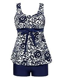 Wantdo Women's Tankinis Swimsuit Two Pieces Boylegs Plus Size Swimdress Tummy Control Bathing Suit Swimwear