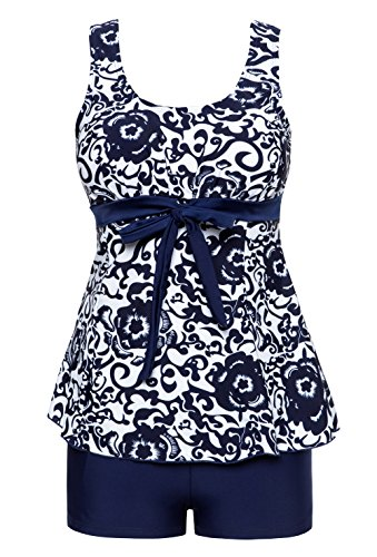 Wantdo Women's Summer Style Swimwear Swimsuit Tankinis Over Size Big Bust Dress,Navy(9008),XL US8-10