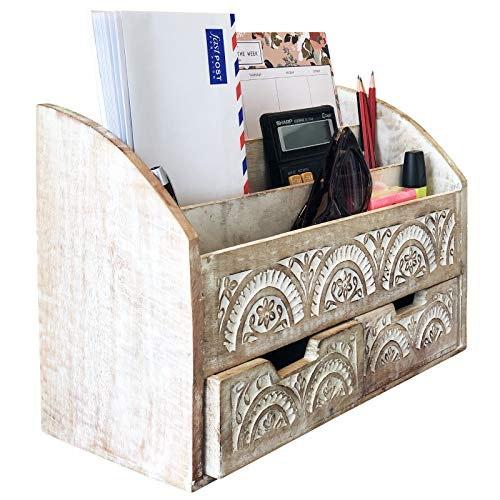 Rustic Wood Desk Organizer Mail Sorter 3 Compartment 2 Drawer White Handmade & Hand Carved (Rustic Carved Wood)