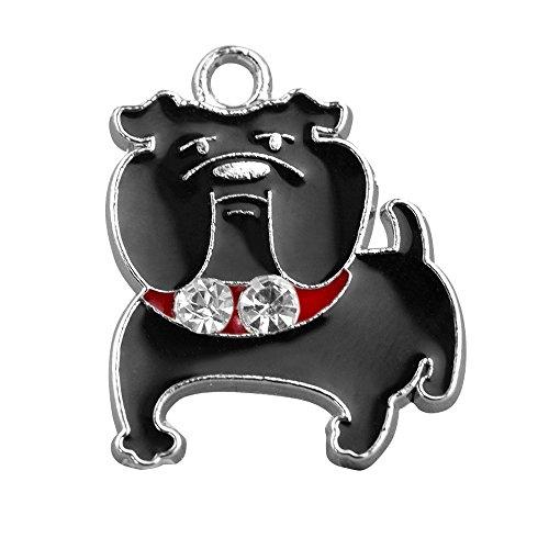 M119-E Wholesale 10pcs Cute Little Black Bulldog Puppy DIY Charms Pendants ()
