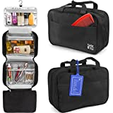 Premium Hanging Toiletry Bag Travel Kit For Women And Men.Organizer, Waterproof, Lightweight Cosmetic And Makeup Bag, Transparent Compartments, Black,Bonus Name Tag