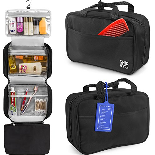 Premium Hanging Toiletry Bag Travel Kit For Women And Men. SHIK Bag is Large Organizer, Waterproof, Cosmetic And Makeup Compartments, Black, Free Bonus Name Tag.