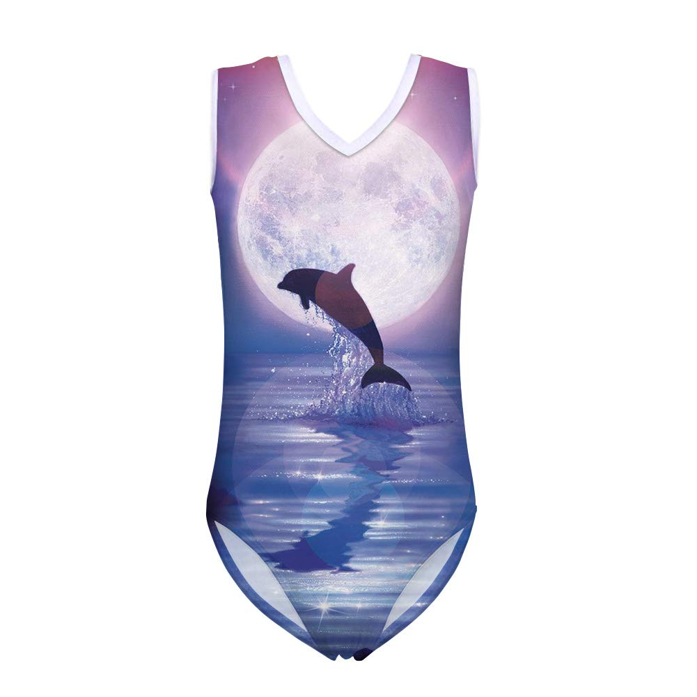 chaqlin One Piece Swimwear for Girls Push-up Outfit Swimsuit Elastic Gymnastic Unitard Underwater Fish Pattern for 5-14Y