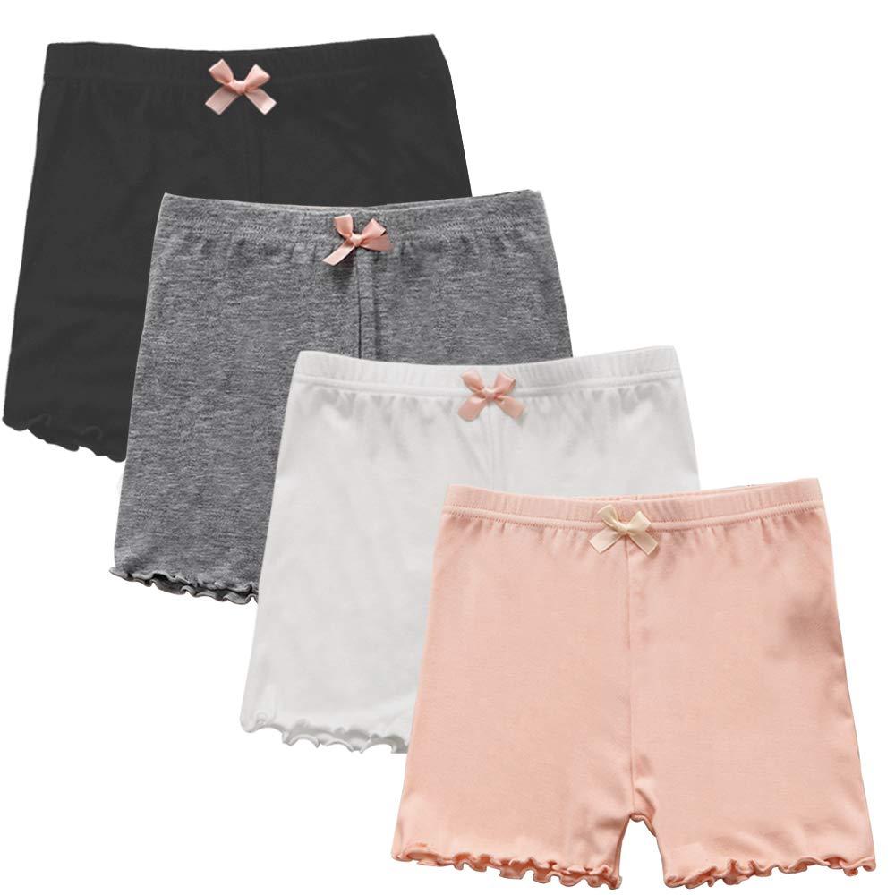Auranso Girls Dance Bike Shorts, 4 Pack Little Big Girl's Dance Undershorts for Sports, Play Under Skirts