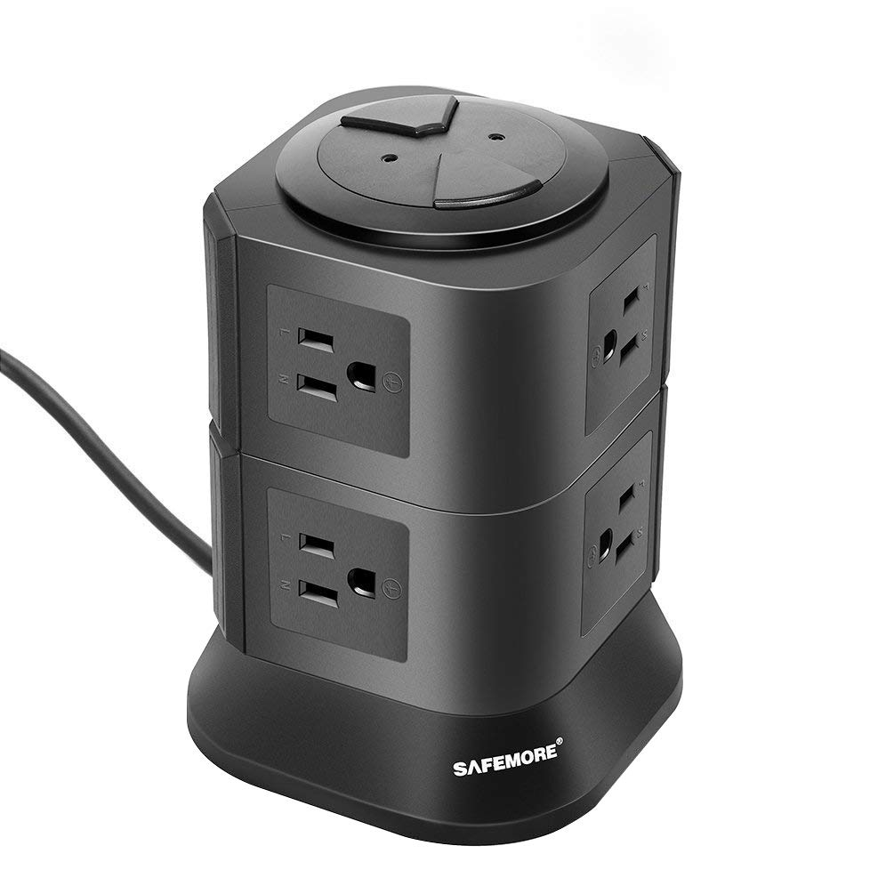 SAFEMORE Power Strip Surge Protector 8 Multi Outlets with Overload Protection 3 Prong Plug Multiple Vertical Tower Charging Station with Copper Extension Cord for Home& Office & Workshop Black