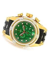 Invicta 90014 Men's Reserve 53mm Bolt Zeus Swiss Made Quartz Chronograph Green Dial Black Polyurethane Strap Watch