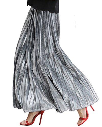Chartou Women's Premium Metallic Shiny Shimmer Accordion Pleated Long Maxi Skirt (XX-Large, Silver) from Chartou