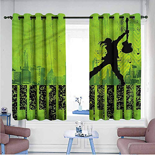 Simple Curtain Popstar Party Music in The City Bedroom Blackout Curtains W63 xL72 Suitable for Bedroom,Living,Room,Study, etc.]()