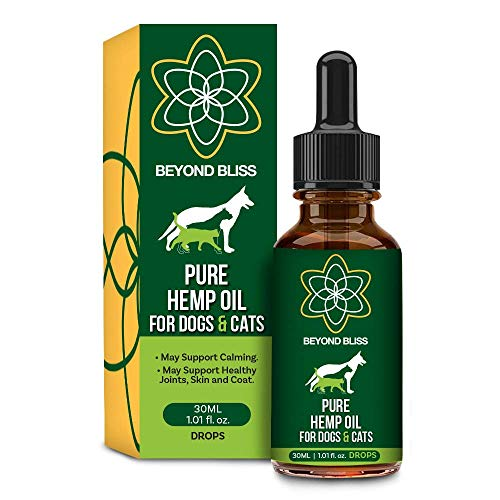 Beyond Bliss Hemp Oil for Dogs & Cats - 550 milligrams daily- Joint Pain - Separation Anxiety - Chronic Pain Relief - Organic & Natural - Anti-Inflammatory - Grown & Made in USA - Omega 3, 6, 9 (Best Cbd Products For Dogs)