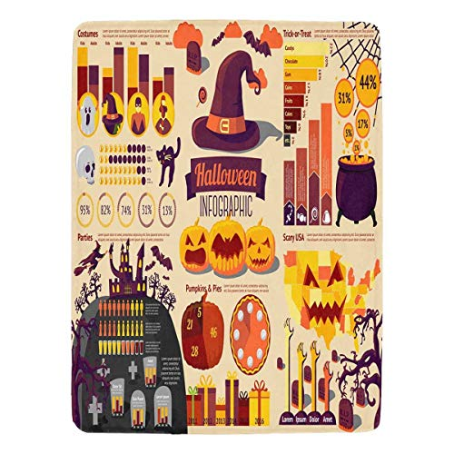 InterestPrint Set of Halloween Infographic Elements with Icons Fleece Blanket Twin Size Blanket Soft Blanket Microfiber, Lap 60 x 80 Inches -