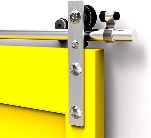 CCJH 12FT-366cm Acero Inoxidable Herraje para Puerta Corredera Kit de Accesorios para Puertas Correderas Rueda Riel Juego para Una Puerta de Madera: Amazon.es: Bricolaje y herramientas