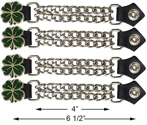Motorcycle Dark Green 4 Leaf Clover Double Button Chain Vest Extender (4 pcs per set)