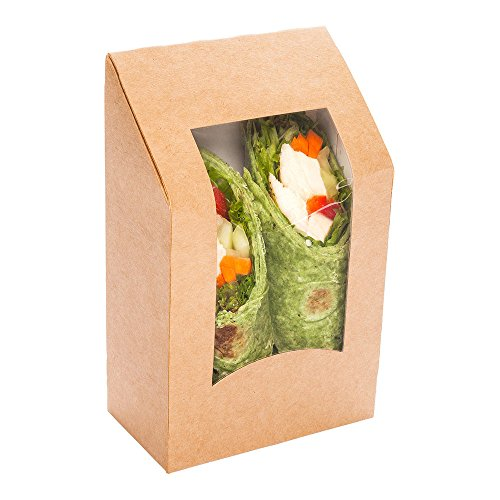 Eco Friendly Cafe Vision Angle Cut Sandwich Wrap Take out Container with Window 200ct Box - Restaurantware
