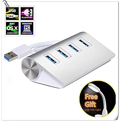 Lovkit™ 4 Port USB 2.0 Hub with Individual Power Switches and LEDs (15.7 inch Shielded Cable) for PC & Laptop - White