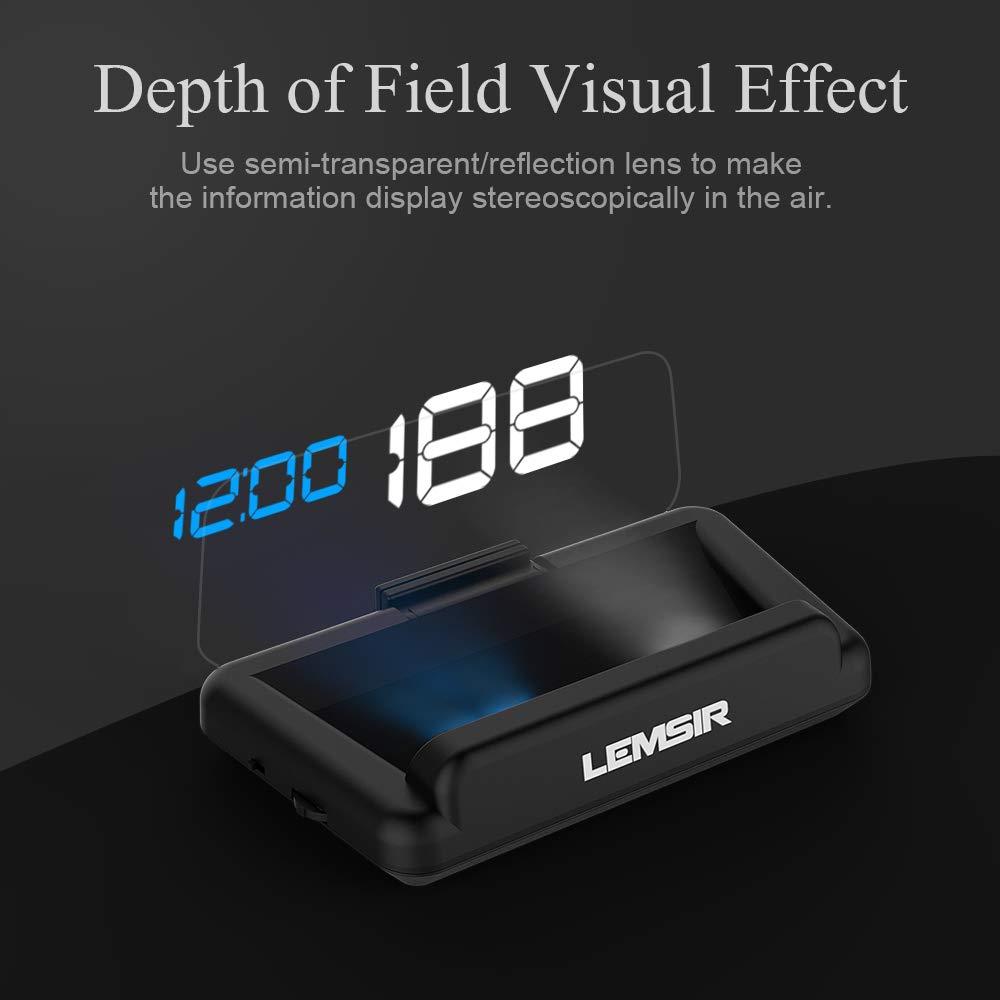 Head-Up Display, LEMSIR Car HUD Speedometer OBD II/EUOBD Interface with Foldable Display Board, Digital HD LED Projector Display Speed MPH Driving Reminder Alarm Light Sensor by LEMSIR (Image #3)