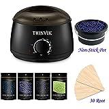 Thinvik Nonstick Pot Waxing Kit, Wax Warmer Painless Hair Removal Tool for Man Women of All Body Face Ear Bikini Legs with 4x Flavor Hard Wax Beans 30x Wax Applicator Spatulas