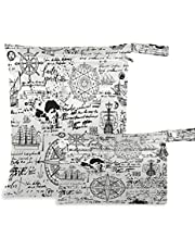 COZYHM Wet Dry Bags for Diaper Bag Retro Old Manuscript Nautical Anchor Cloth Diaper Hanging Wet Bags Waterproof Washable Organizer Pouch with Pocket for Travel Camping Beach