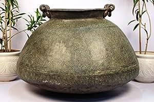 Hecho a mano Vintage (26,5x 37,5cm maceta al aire libre de cobre de jardín interior Indianshelf Online