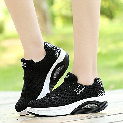 UPS Platform Lace Shoes Fitness up BeautyOriginal Women Black Work Out Walking Shape Sneakers wfzgAA