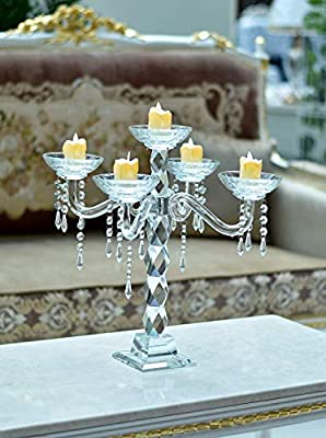 Yatai 5 Arms Decorative Crystal Candle Holder Wedding Tall
