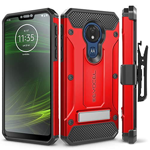 Motorola Moto G7 Power Case, Evocel [Explorer Series Pro] Premium Full Body Case with Glass Screen Protector, Belt Clip Holster, Metal Kickstand for Motorola Moto G7 Power (XT1955), Red ()