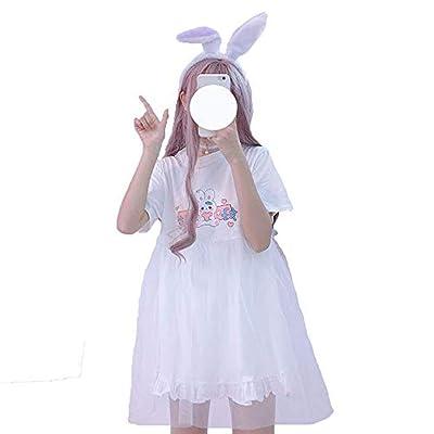 Teen Girls Summer Dresses, Japanese Style Lovely Rabbit Print Cotton Mini T-Shirt Dress (White) at Women's Clothing store