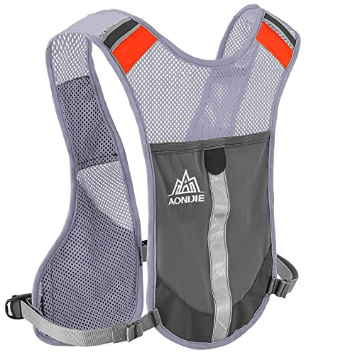 Cheap Reflective Vest Lightweight Adjustable Hydration Pack Vest with 2 Water Bag Holder & Sturdy Buckles & Pocket & Reflective Strips for Marathoner Race Hiking Climbing Day and Night Running Cycling(Grey)
