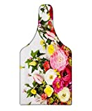 Lunarable Easter Cutting Board, Flowers Blooms Frame on White Timber Background Valentines Romance Petal Picture, Decorative Tempered Glass Cutting and Serving Board, Wine Bottle Shape, Pink Green