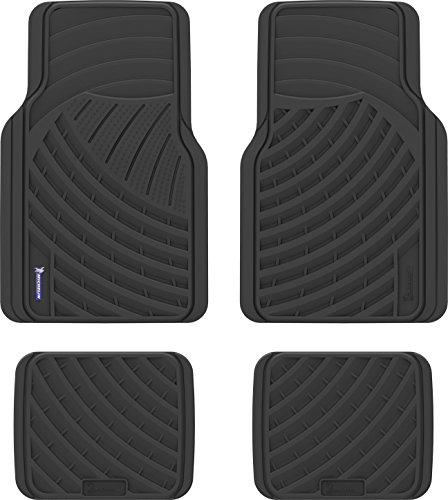 MICHELIN Automotive All Weather Rubber Floor Mats: 4 Piece Set (Front + Rear), Universal Fit, Black