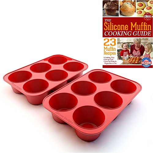 Texas Muffin Pan - Silicone Texas Muffin Pans and Cupcake Maker, 6 Cup Large, Set of 2, Commercial Use, Plus Muffins Recipe Ebook