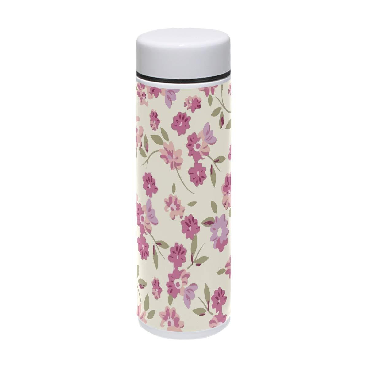 MUOOUM al Art Botella de agua de acero inoxidable aislada al MUOOUM vacío con diseño de flores rosas, para viajes, deportes, 7.5 onzas, caliente durante 12 horas 3ce8ae