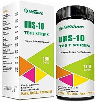 100 tiras de prueba de orina, 10 pruebas, cada tira, incluye tiras de pruebas de cetona, glucosa, proteína sanguínea, pH orina
