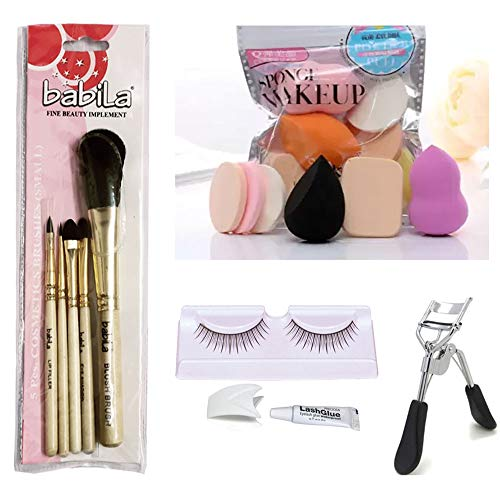 Professional Beauty Accessories Collection, 5 PCs. Cosmetics Burshes (Small), 6-in-1 Makeup Applicator, Eyelash & Eyelash Curler (Pack of 4) by Janvi Enterprises