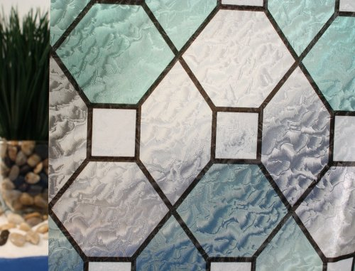 Green Leaded Glass Static Cling Window Film, Adhesive Free, 36'' Wide x 1 yd. Sold by the yard as one continuous roll.