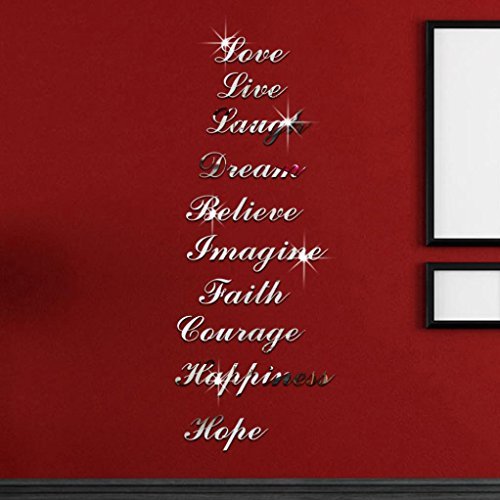Rumas Home Decor, Fashion Silver Mirror Effect Acrylic Quote Word Art Stair Decals Wall Sticker (Silver)