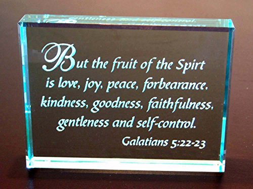 Crystal Etch Galatians 5:22-23 Hand Carved Etched Glass Paperweight