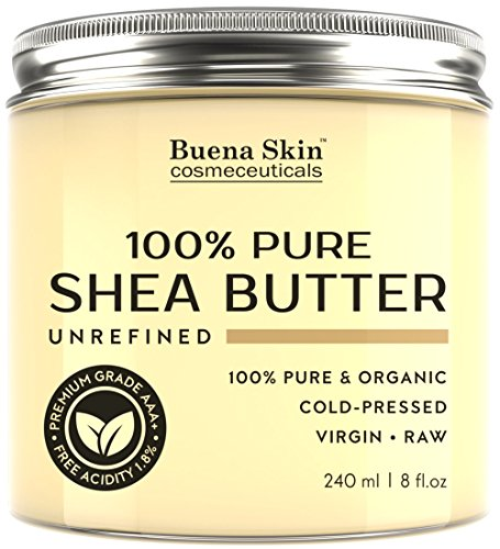 Price comparison product image PURE Shea Butter by Buena Skin | Organic, Raw, Unrefined, Cold-Pressed - Great To Use Alone or DIY Body Butters, Lotions, Soaps, Eczema & Stretch Mark Products, From Ghana - 8 oz