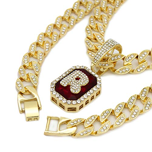 Jewel Town 14K Gold Finish Octagon Red Ruby Shape Letter (R) Bubble Style 24