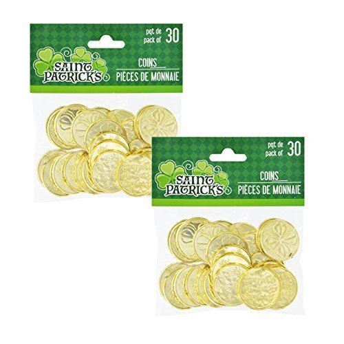 2 Plastic St. Patrick's Day Shamrock Coins, 30-ct. Packs