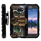 MINITURTLE Case Compatible w/Samsung Galaxy S6 Active Case, High Impact Belt Clip + Holster Stand Hard Shell Case Hunting Designs for S6 Active G890 Two Wood Ducks