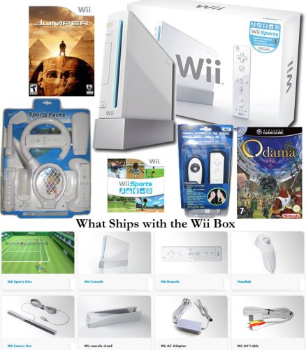 Nintendo Wii System +Wii Sports + Wii Sports Kit + Jumper Griffins Story + Odama + Controller Skin Protector Bundle
