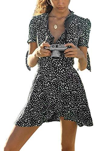 LECCECA Women Chiffon Cross V-Neck Floral Short Sleeves Summer Ruffled Mini Wrap Dress Black, XL