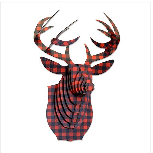Cardboard Safari Recycled Cardboard Animal Taxidermy Deer Trophy Head, Limited Edition Bucky Plaid Red, Small