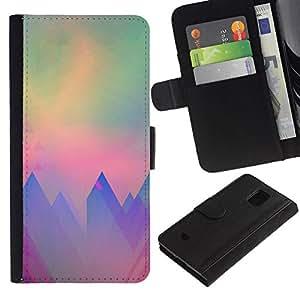 All Phone Most Case / Oferta Especial Cáscara Funda de cuero Monedero Cubierta de proteccion Caso / Wallet Case for Samsung Galaxy S5 Mini, SM-G800 // montañas polígono arte del trullo púrpura sol