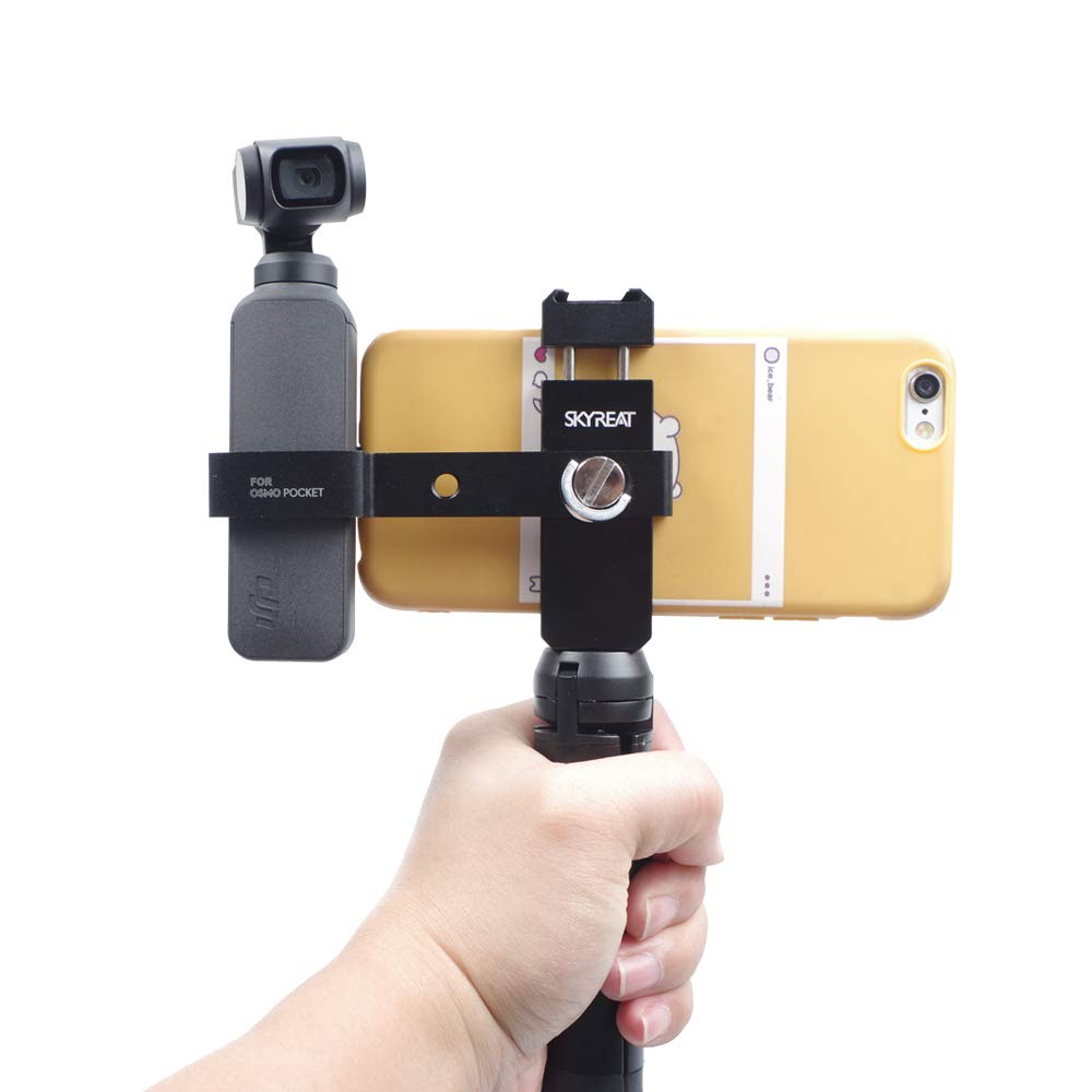 Skyreat Aluminum Handheld Phone Holder Tripod Mount Stand for DJI Osmo Pocket Accessories,w/Cold Shoe Interface & 1/4'' Thread Support External Microphone & LED Light by Skyreat