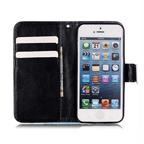 Custodia a portafoglio in vera pelle di alta qualità per iPhone SE, 5e 5S, con fessura portacarte, design creativo+ 1tappo anti polvere a fiore + 1penna stilo, Ecopelle Pelle, Three Owls, Apple iP Blue Butterfly