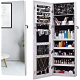 AOOU Jewelry Organizer Jewelry Cabinet,Full Screen Display View Larger Mirror, Full Length Mirror,Large Capacity Dressing Mirror Makeup Jewelry Armoire (White)