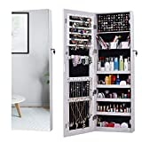 walk in closet pictures AOOU Jewelry Organizer Jewelry Cabinet,Full Screen Display View Larger Mirror, Full Length Mirror,Large Capacity Dressing Mirror Makeup Jewelry Armoire (White)…